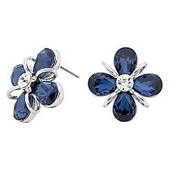 Principles by Ben de Lisi - Designer blue teardrop flower stud earring