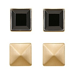 Principles by Ben de Lisi - Black facet and prymid stud earring pack