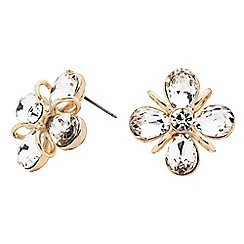 Principles by Ben de Lisi - Designer gold teardrop flower stud earring