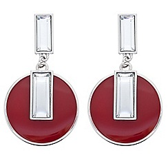 Principles by Ben de Lisi - Designer baguette and red enamel drop earring