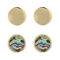 Principles by Ben de Lisi - Designer gold abalone stud earring pack