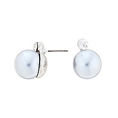 Principles by Ben de Lisi - Designer Pale blue large pearl and crystal stud earring