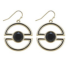 Principles by Ben de Lisi - Designer black stone half circle drop earring