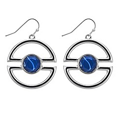 Principles by Ben de Lisi - Designer blue stone half circle drop earring