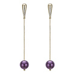 Principles by Ben de Lisi - Designer burgundy pearl drop chain earring