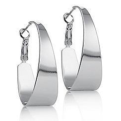 Principles by Ben de Lisi - Designer silver oval hoop earring