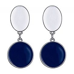 Principles by Ben de Lisi - Designer blue and silver oval earring