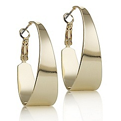 Principles by Ben de Lisi - Designer gold large oval hoop earring
