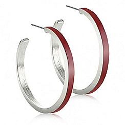 Principles by Ben de Lisi - Designer red inlay silver hoop earring