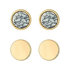 Principles by Ben de Lisi - Gold designer circle earring set