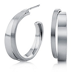 Principles by Ben de Lisi - Designer silver cross over hoop earrings