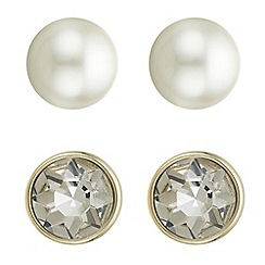 Principles by Ben de Lisi - Designer pearl and crystal stud earrings set