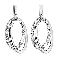 Principles by Ben de Lisi - Designer silver pave oval earrings