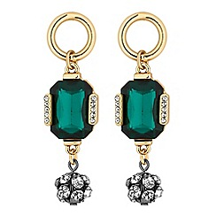 Principles by Ben de Lisi - Designer green facet crystal drop earrings