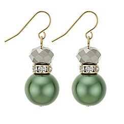 Principles by Ben de Lisi - Designer green facet bead earrings