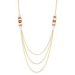 Principles by Ben de Lisi - Triple gold row beaded necklace