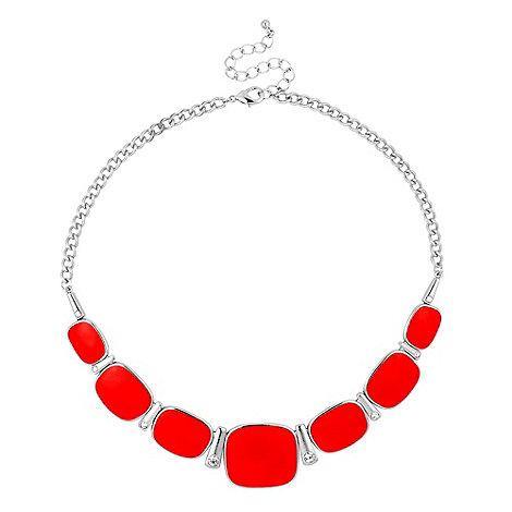 Principles by Ben de Lisi - Red enamel graduated panel necklace