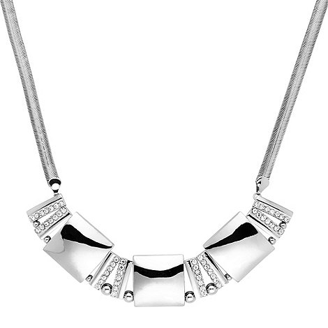 Principles by Ben de Lisi - Polished silver and crystal geometric panel necklace
