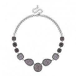 Principles by Ben de Lisi - Designer grey crystal embellished panel necklace