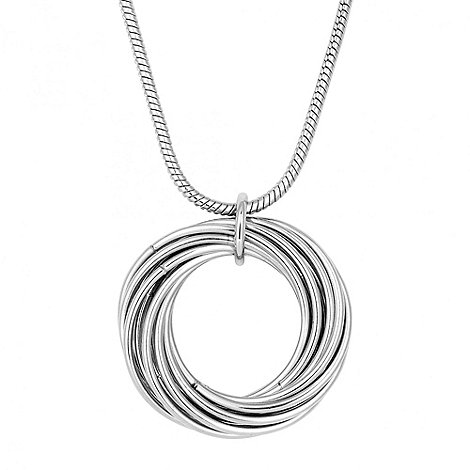 Principles by Ben de Lisi - Designer silver multi hoop long pendant necklace