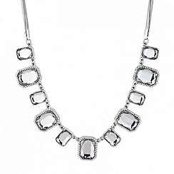 Principles by Ben de Lisi - Designer crystal square silver link necklace