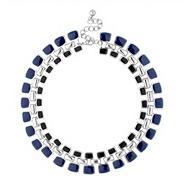 Designer blue and jet enamel triple link necklace
