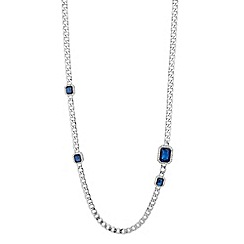 Principles by Ben de Lisi - Designer blue crystal surround long link necklace