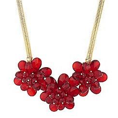Principles by Ben de Lisi - Designer red bead 3d flower necklace
