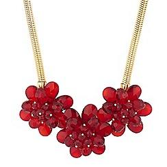 Principles by Ben de Lisi - Designer red bead 3d flower necklace