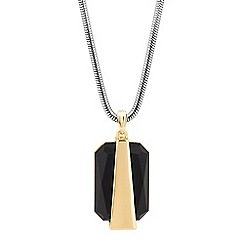 Principles by Ben de Lisi - Designer jet stone two tone pendant necklace