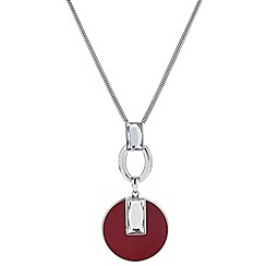 Principles by Ben de Lisi - Designer baguette and red enamel drop necklace
