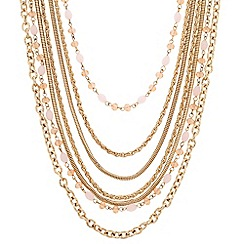 Principles by Ben de Lisi - Designer long pink bead multi row necklace