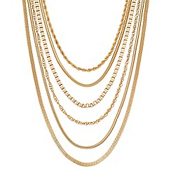 Principles by Ben de Lisi - Designer mixed gold chain multi row necklace