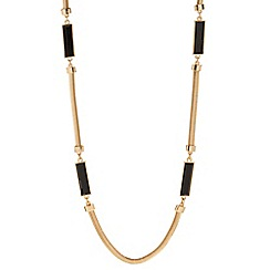 Principles by Ben de Lisi - Designer long jet baguette and gold chain necklace