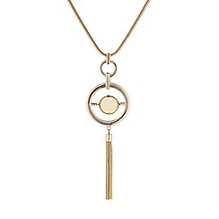 Principles by Ben de Lisi - Designer Gold circle orb tassel long pendant