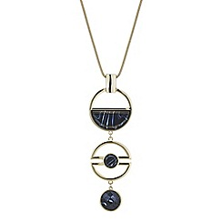 Principles by Ben de Lisi - Designer black marble effect circle drop pendant necklace