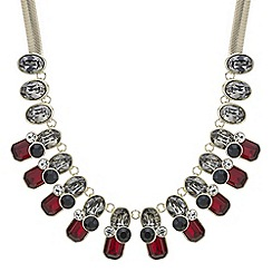 Principles by Ben de Lisi - Designer red and grey crystal statement necklace