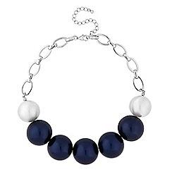 Principles by Ben de Lisi - Designer silver and navy orb necklace