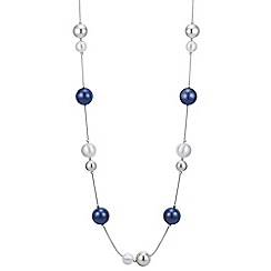 Principles by Ben de Lisi - Designer silver and navy orb rope necklace