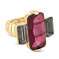 Principles by Ben de Lisi - Designer purple and grey baguette stretch ring