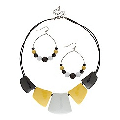 Principles by Ben de Lisi - Yellow and black resin block necklace and earring set