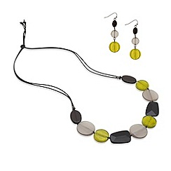 Principles by Ben de Lisi - Lime and grey resin long chain necklace and earring set