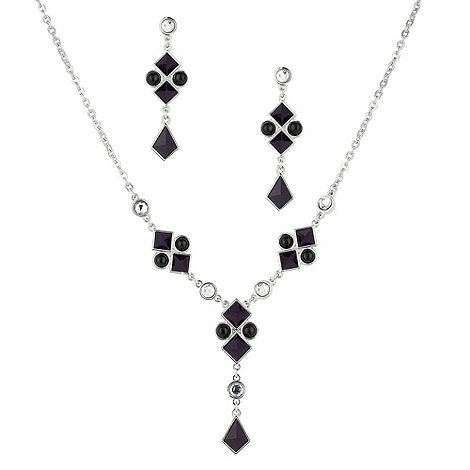 Principles by Ben de Lisi - Blue glass multi square y drop necklace and earring set