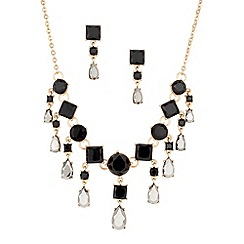 Principles by Ben de Lisi - Jet and hematite multi stone drop necklace and earring set