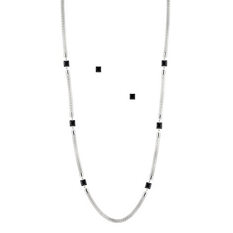 Principles by Ben de Lisi - Long cube and silver mesh chain necklace and earring set