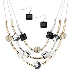 Principles by Ben de Lisi - Mixed plate tube and multi bead illusion necklace and earring set