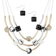 Mixed plate tube and multi bead illusion necklace and earring set