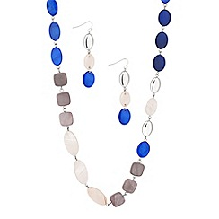 Principles by Ben de Lisi - Designer blue and neutral shell disc necklace and earring set