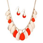 Designer coral enamel teardrop necklace and earring set