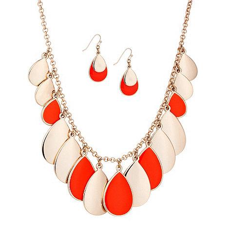 Principles by Ben de Lisi - Designer coral enamel teardrop necklace and earring set